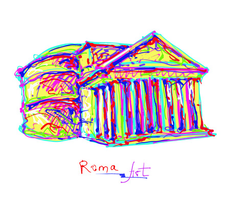 roman empire: famous place of Rome Italy, original drawing in rainbow colours contemporary art style for travel hobby, vector illustration