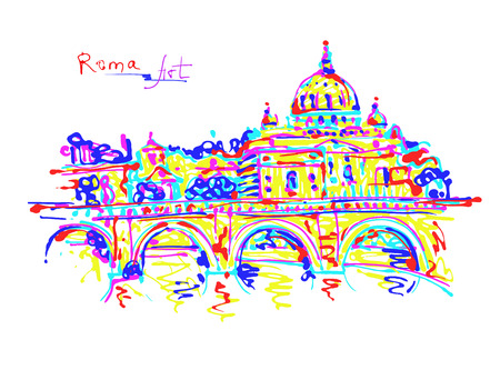 famous place: famous place of Rome Italy, original drawing in rainbow colours contemporary art style for travel hobby, vector illustration