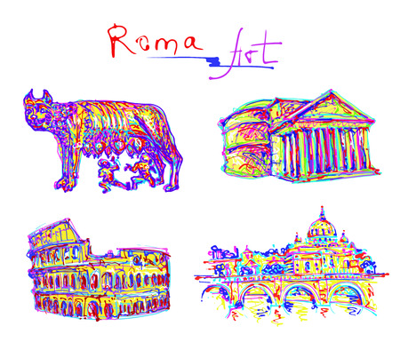 roman empire: set famous place of Rome Italy, original drawing in rainbow colours contemporary art style for travel hobby, vector illustration