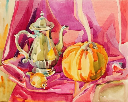 original handmade watercolor painting still life with silver tea pot and pumpkin, art composition photo