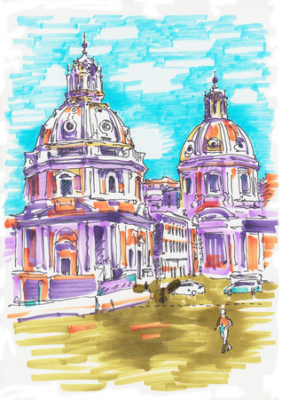 original marker painting of Rome Italy cityscape for your travel card design, basilica drawing photo