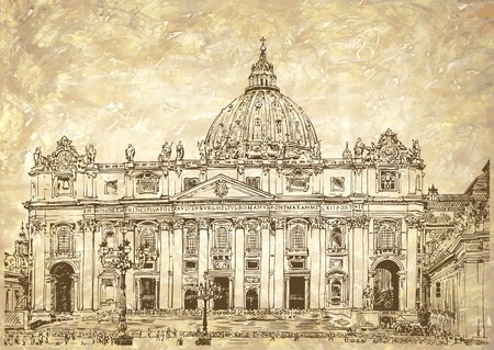 St. Peters Cathedral, Rome, Vatican, Italy. Hand drawing on grunge paper background. Saint Pietro Basilica, vector illustration Illustration