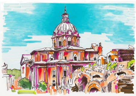 original marker painting of Rome Italy cityscape for your travel card design, basilica drawing, vector illustration