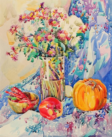 etude: original watercolor still life with flowers, pumpkin, apple, drapery and hot pepper, impressionistic painting