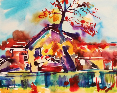 original watercolor abstract rural landscape, impressionistic painting photo