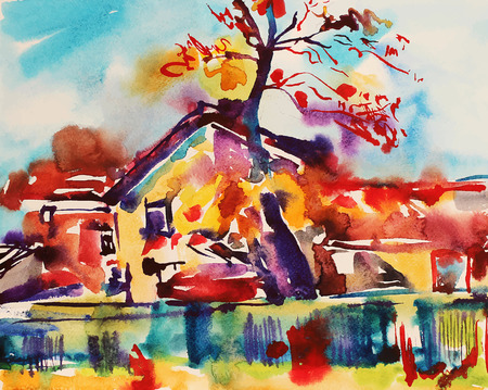 original watercolor abstract rural landscape, impressionistic painting, vector illustration Vector
