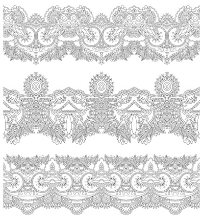 gray strip: collection of seamless ornamental floral stripes, black and white collection. Vector illustration