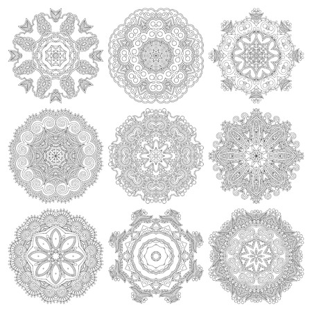 Circle lace ornament, round ornamental geometric doily pattern, black and white collection. Vector illustration Vector