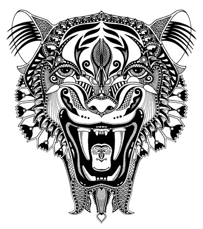 original black and white head tiger drawing with the opened fall, isolated on white background, perfect for tattoo design, vector illustration Illustration
