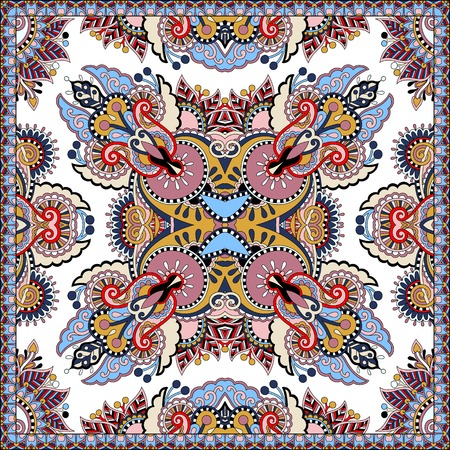 head wear: Traditional ornamental floral paisley bandanna. Square ornament. You can use this pattern in the design of carpet, shawl, pillow, cushion, vector illustration Illustration