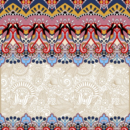 ornamental floral folkloric background for invitation, cover design, fabric pattern or page decoration, ethnic border on vintage flower background, vector illustration Vector