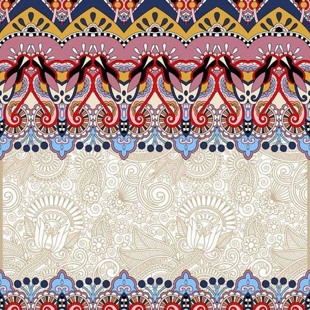 ornamental floral folkloric background for invitation, cover design, fabric pattern or page decoration, ethnic border on vintage flower background, vector illustration Vector
