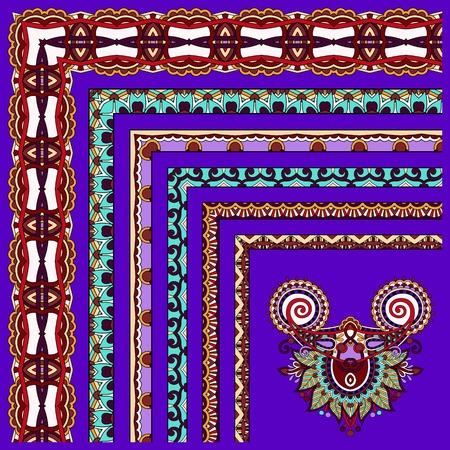 acanthus: floral vintage frame design on violet colour background. Vector set. All components are easy editable