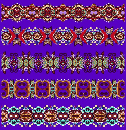 seamless ethnic floral paisley stripe pattern on violet colour background, border set, ukrainian tribal ornament for print or embroidery ribbon, or for the design of polygraphy or web Vector