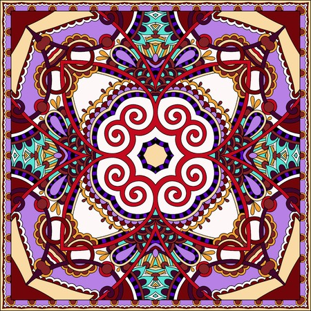 voile: silk violet colour neck scarf or kerchief square pattern design in ukrainian karakoko style for print on fabric, vector illustration