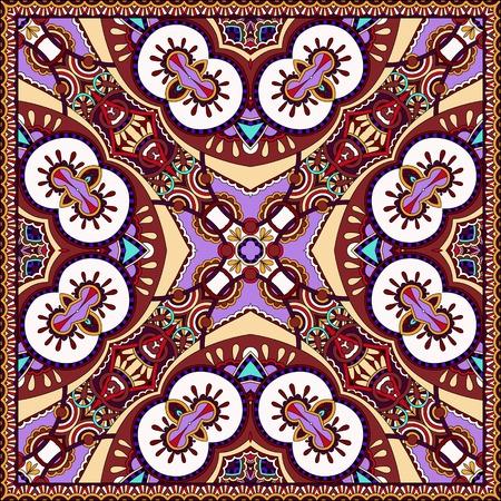 kerchief: silk violet colour neck scarf or kerchief square pattern design in ukrainian karakoko style for print on fabric, vector illustration