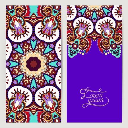 decorative label violet colour card for vintage design, ethnic pattern, antique greeting card, invitation with lace ornament, vector illustration Vector