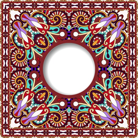 tapis: floral round pattern in violet colour ukrainian oriental ethnic style for  greeting card, template frame design for card, vintage lace doily, vector illustration