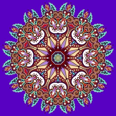 violet colour mandala, circle decorative spiritual indian symbol of lotus flower, round ornament pattern, vector illustration Vector