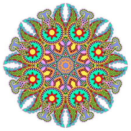mandala, circle decorative spiritual indian symbol of lotus flower, round ornament pattern, vector illustration Vector