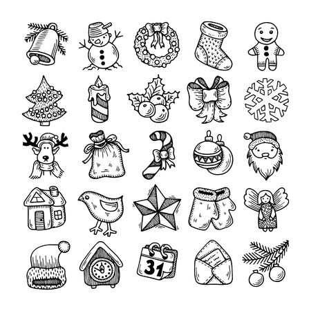 white greeting: Set of black and white sketch drawing christmas doodle icons