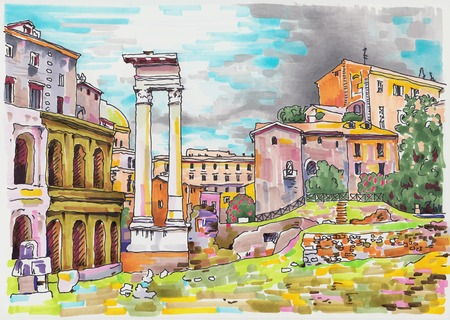 original marker painting of Rome Italy cityscape for your travel card design Vector