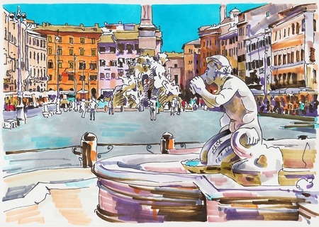 del: original marker painting of Rome Italy cityscape for your travel card design, architectural details of Fontana del Moro or Moro Fountain. Piazza Navona Illustration