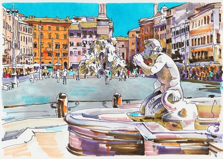 navona: original marker painting of Rome Italy cityscape for your travel card design, architectural details of Fontana del Moro or Moro Fountain. Piazza Navona Stock Photo