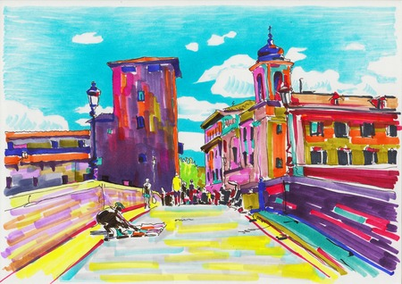original marker painting of Rome Italy cityscape for your travel card design