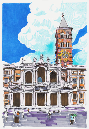 original marker painting of Rome Italy cityscape for your travel card design, basilica papale santa maria maggiore Vector