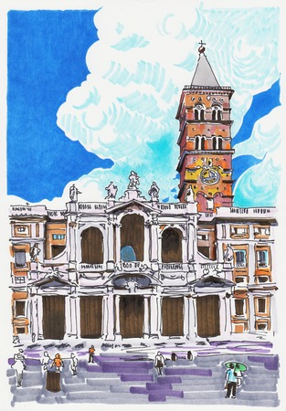 original marker painting of Rome Italy cityscape for your travel card design photo