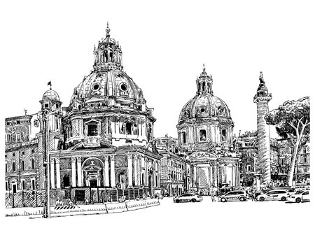 original black and white digital drawing of Rome Italy cityscape for your travel card design, basilica sketch, vector illustration Vector