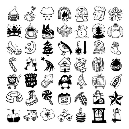 black and white sketch hand drawing winter icons set, vector illustration Vector