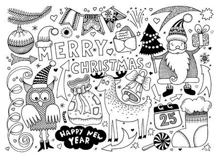 black and white merry christmas and happy new year set for your greeting card design, vector illustration Vector