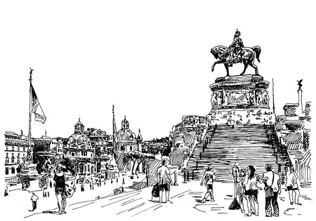 black and white sketch hand drawing of Rome Italy famous cityscape, travel card, vector illustration Vector