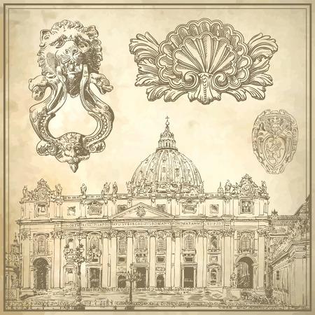Ensemble de dessin calligraphique cru décoration et italie croquis Basilique Saint Pietro sur le vieux fond de papier, illustration vectorielle Vecteurs
