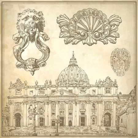 Set of vintage sketch calligraphic drawing italy decoration and Saint Pietro Basilica on old paper background, vector illustration
