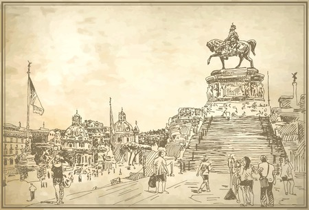 rome italy: sketch hand drawing of Rome Italy famous cityscape on old paper background, travel card, vector illustration