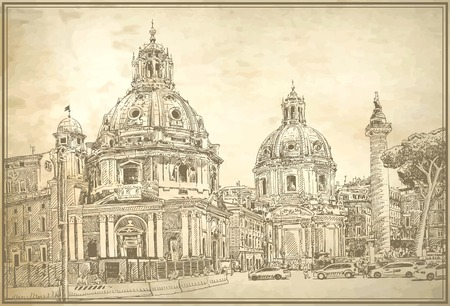italy street: original digital drawing of Rome Italy cityscape for your travel card design on old paper background, basilica sketch, vector illustration