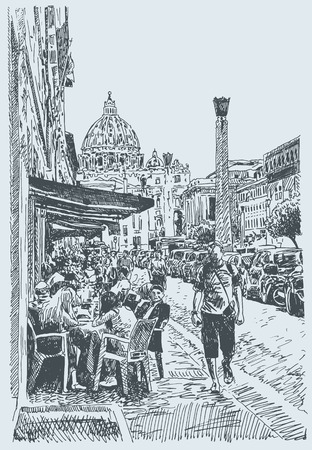 italy street: original sketch hand drawing of Rome Italy famous cityscape, travel card, vector illustration Illustration