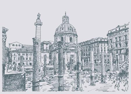 rome italie: dessin de Rome Italie c�l�bre paysage urbain de la main croquis original