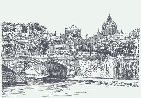 イタリアのローマ都市の景観の図面の元のスケッチ 写真素材 - 34209704