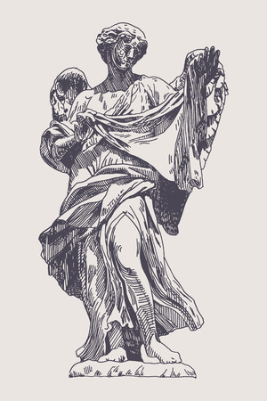 sant: original sketch ink drawing of marble statue of angel from the SantAngelo Bridge in Rome, Italy, vector illustration Illustration