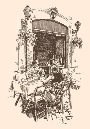 sidewalk cafe: original hand drawing of european street outdoor cafe in Rome Illustration