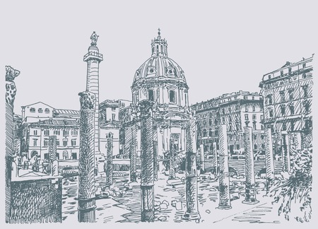 rome   italy: original sketch hand drawing of Rome Italy famous cityscape, travel card, vector illustration Illustration