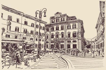 イタリアのローマの有名な景観の元のスケッチ手書き旅行カード、ベクトル イラスト  イラスト・ベクター素材