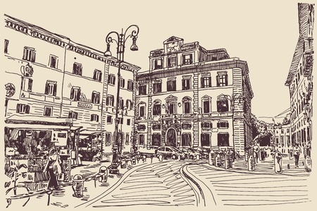 original sketch hand drawing of Rome Italy famous cityscape, travel card, vector illustration Vectores