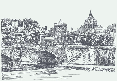 original sketch drawing of Rome Italy cityscape, type of bridge in river and Saint Pietro Basilica, vector illustration