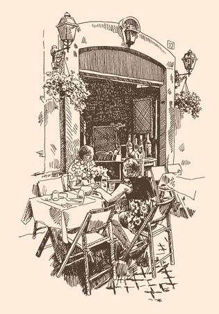european: original hand drawing of european street outdoor cafe in Rome, Italy, romantic vector illustration