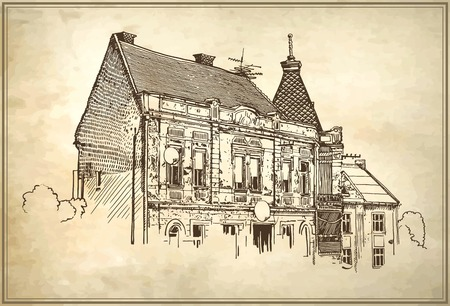 original digital sketch vector illustration of Uzhgorod cityscape on old paper background, Ukraine Vector